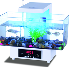 USB Mini Aquarium Fish Tank Desktop Electronic Fish Tank Decoration With Water Running LED Pump Light Calendar Clock