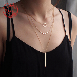 women's necklaces 18k gold long chain Layered Necklace Set OEM Jewelry Necklace S925