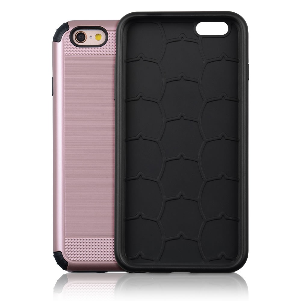 C&T Hybrid Brushed Dual Layer Protective Case Metal Texture Bumper cover for Apple iphone 6 4.7