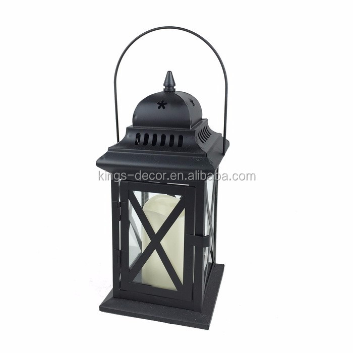 Cross hanging black LED metal candle lantern for home decoration