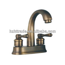 Bathroom sanitary ware dual handle antique bronze basin 3 way faucet