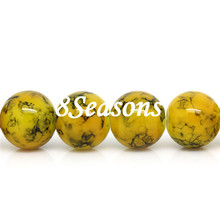 Custom Round Yellow Pattern Printed Glass Loose Beads 12mm