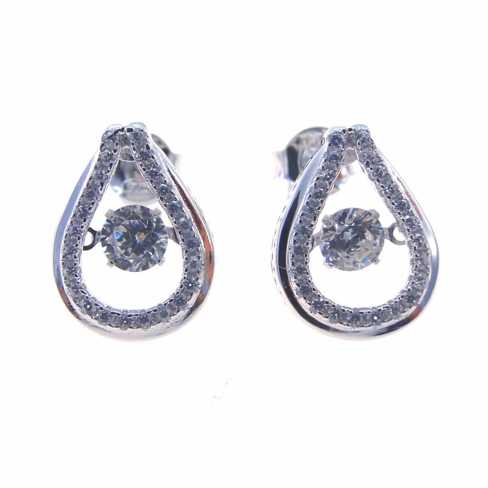 New Arrival 925 Sterling Silver Stud Dancing Diamond Earrings For Women  Wholesale Dancing Stone Jewelry Dr030861e 238g