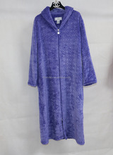 OEM Elegant Long Lady Zipper Bathrobe/Long Nightgown with Zip