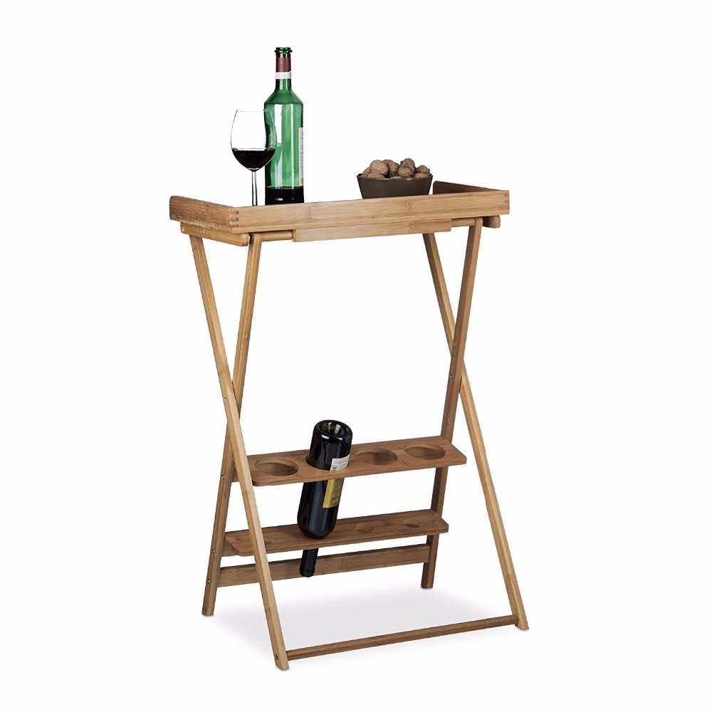 Floding bamboo table with wine rack shelf for snack and coffee