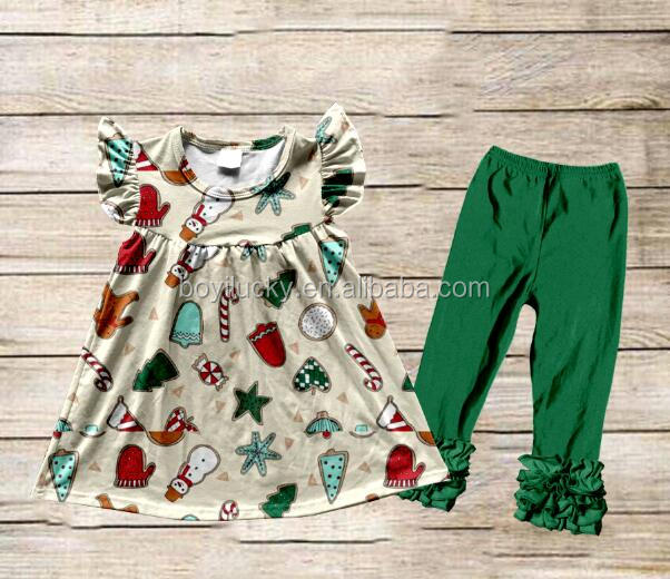 Wholesale Children Boutique Clothing Baby Flutter Sleeves Top Ruffle pants Girls Icing Outfits