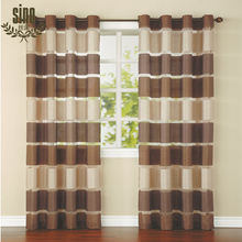 Low price china factory modern design two ton organza curtain