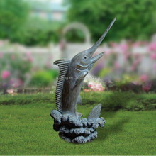 Garden Pond Spitter Sord Fish Sculpture Resin Water Fountain