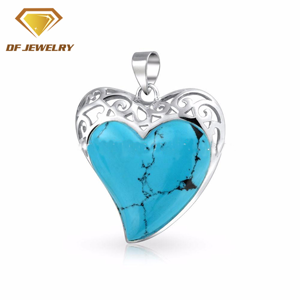 2017 New Designs Alibaba Fashion 925 Sterling Silver Pendant Jewelry Women Turquoise Heart Pendant