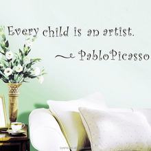 children's wall stickers DIY 3d art vinyl quotes every child is an artist pablo picasso saying kids wall stickers for kids room