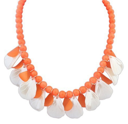 Bright candy color shell and pearl beaded chain wholesale necklace
