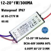 5 Pcs High PFC 20W AC85-277V LED Driver 12-20x1W 300mA DC35-68V LED Power Supply Constant Current IP67 Waterproof Free Shipping