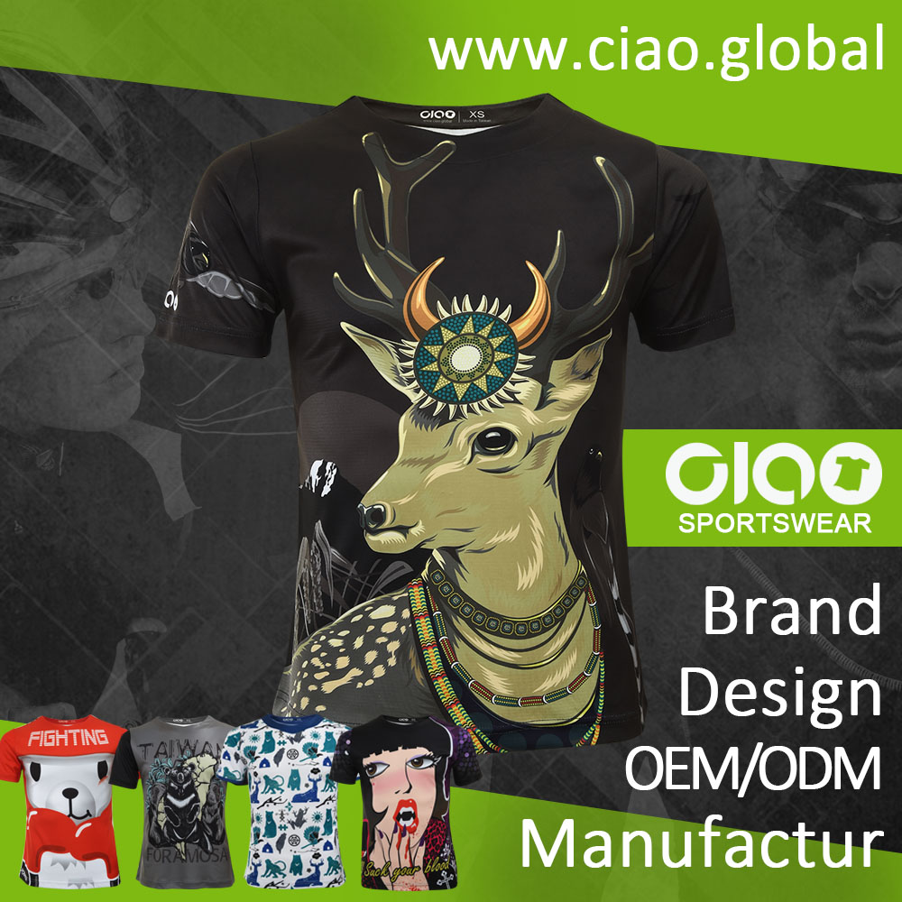 Ciao sportswear customized sublimation printing bella canvas t shirt with CE certificate