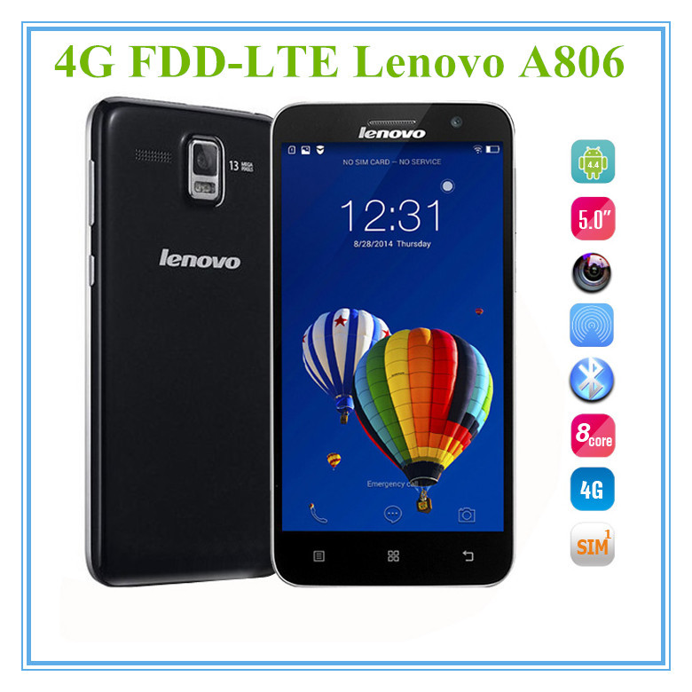 "New Lenovo A806 A8 A808T 4G LTE FDD MTK6592 Octa Core Android 4.4 Mobile Phone 1.7GHz 5.0"" IPS 13.0MP Camera 2GB RAM 16G ROM GPS"