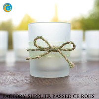 Glass jar candle golden frosted finished