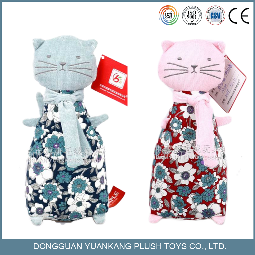 canvas fabric soft plush cute cat stuff animal toy for baby