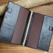 High quality pu leather 6 ring binder A5 diary cover with pen slot