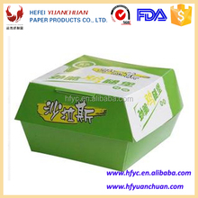 Disposable paper hamburger packaging box