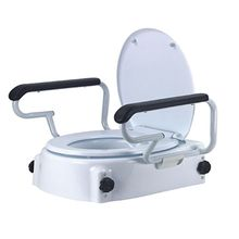 Raised Toilet Seat with detachable Armrest and elevated toilet seat , commode seat
