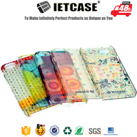 Water transfer printing 3D plastic clear phone cover case with your own design for iphone 5 6 6 plus