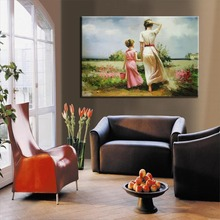 Handpainted mother and child painting For Bedroom Oil Painting With Frames Stretched Home Decoration