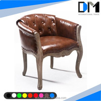 antique wooden long sofa chair , brown leather single sofa chair