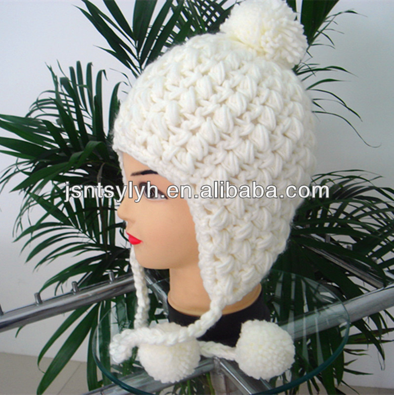 crochet ladies earflap hats with pompom,manufacture