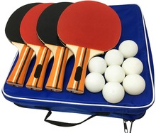 Amazon Hot Sale 4 rackets 8 balls Cheap table tennis rackets set for Training