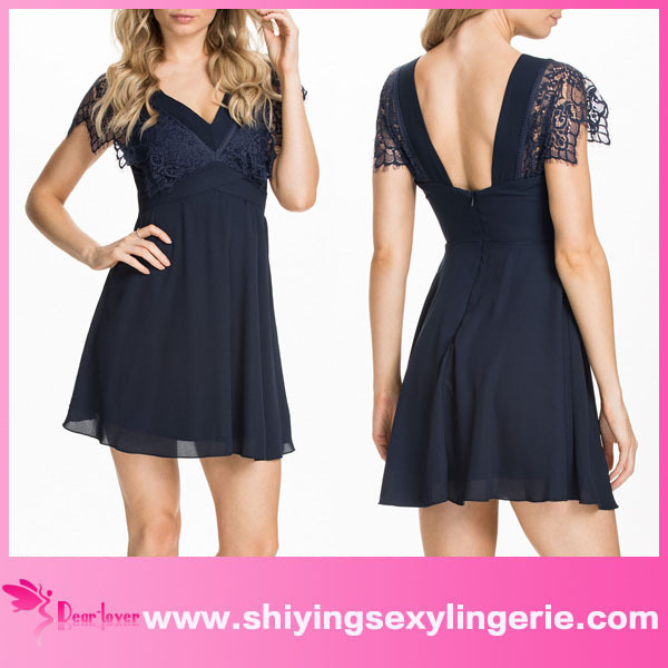 Lace Blue V-Neck Lace Chiffon Skater Dress www sexy girls com hot new