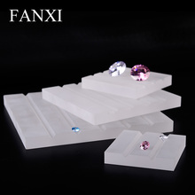 FANXI High Quality Custom Organic Glass Square Board Jewelry Display Stand Set Loose Diamond Blocks Frosted Acrylic Display Set