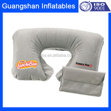 folding flocked inflatable travel neck pillow