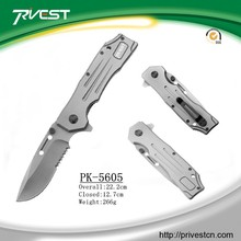 Tactical Stainless Steel Serrated Titanium Folding Fuller Knives with Belt Clip