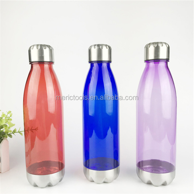 BPA-Free Sport Water Bottles 25 oz, Non Toxic Plastic, Reusable Flask with Stainless Steel Leak Proof Twist Off Cap & Steel Base
