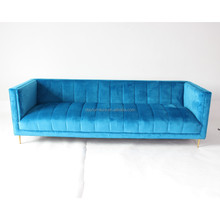Popular Rose gold modern sofa with metal leg blue velvet stainless steel sofa new design living room <strong>furniture</strong>
