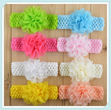 baby infant cotton yarn beautiful fabric chiffon flower headbands handmade knit crochet flower