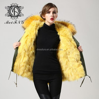 genuine raccoon dog furs trim collar and real fox furs linner jacket female garment parka manufacturer