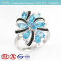 2015 popular white plated blue topaz natural stone 925 silver ring for ladies