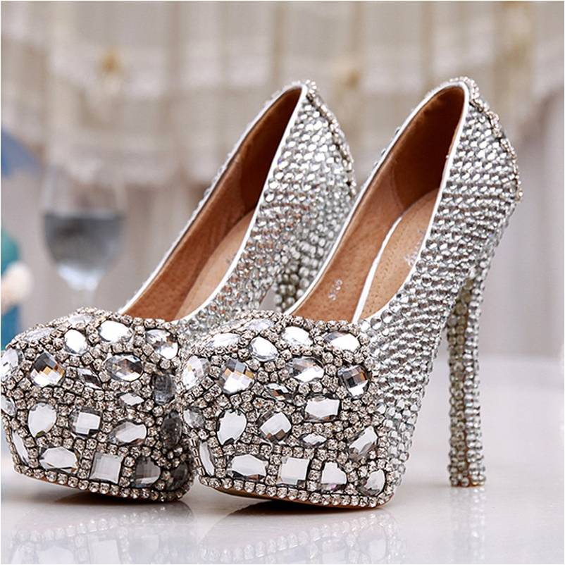 BS001 Party Wear High Heels Genuine Leather Women Bridal Wedding Shoes Beautiful Latest Design Lady Shoes Silver Evening Shoes