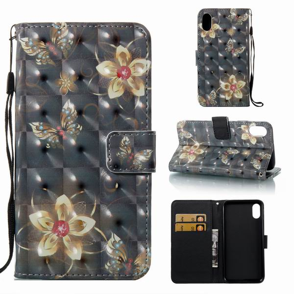 New Hot Flower Butterfly Leather Flip Case for iPhone 8,for iPhone 8 3D Case wallet flip with rope