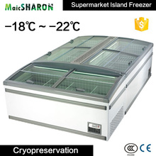 Cooled Display Combined Frozen Meat Food Ice Cream Island Freezer Machine Supermarket Showcase