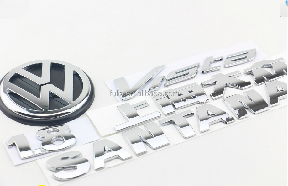 custom plastic chrome car emblem with sticky