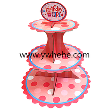 Factory produce 3-layer printed birthday party cake stand