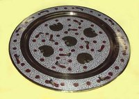 Decorative brass engraved round charger tray