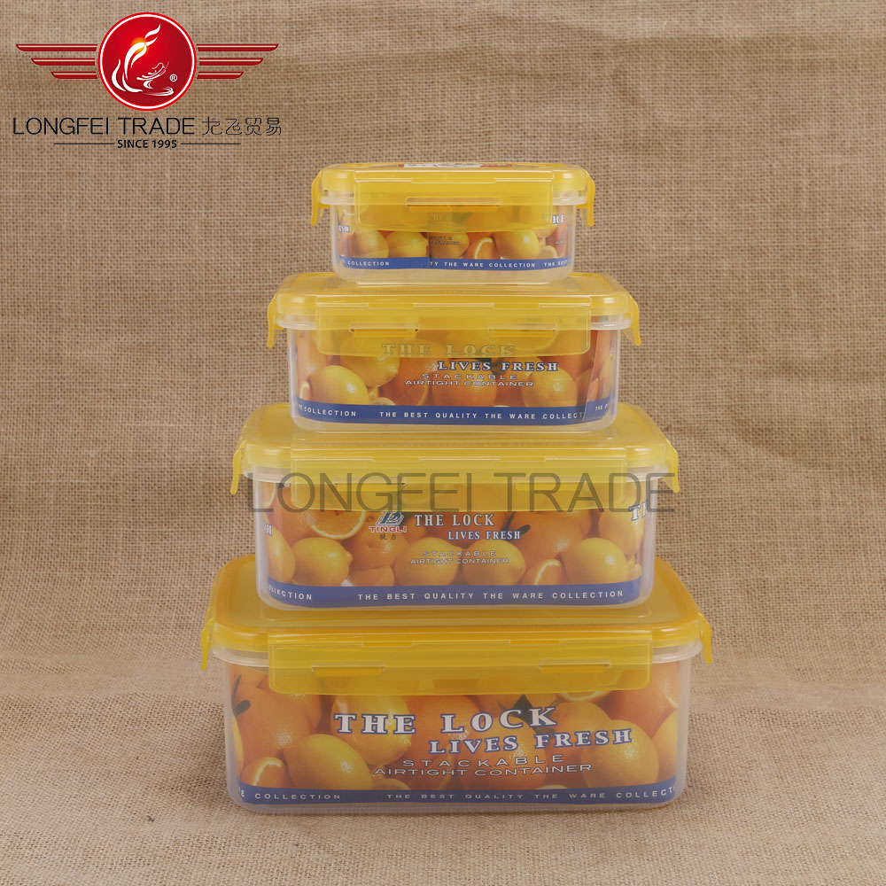 yellow sealed rectangular plastic fresh bowl plastic food storage container