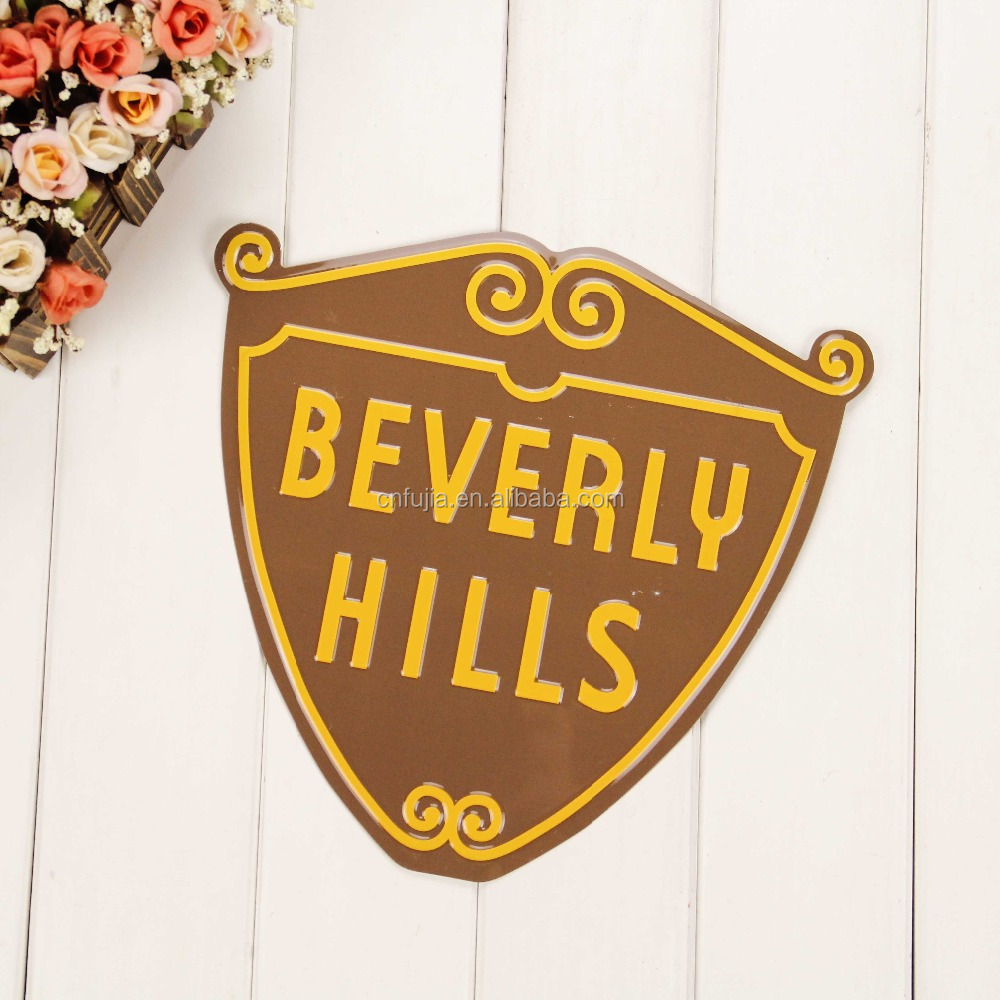 Shield shape embossed motor tin sign for wall decor, tin plaque for home decoration