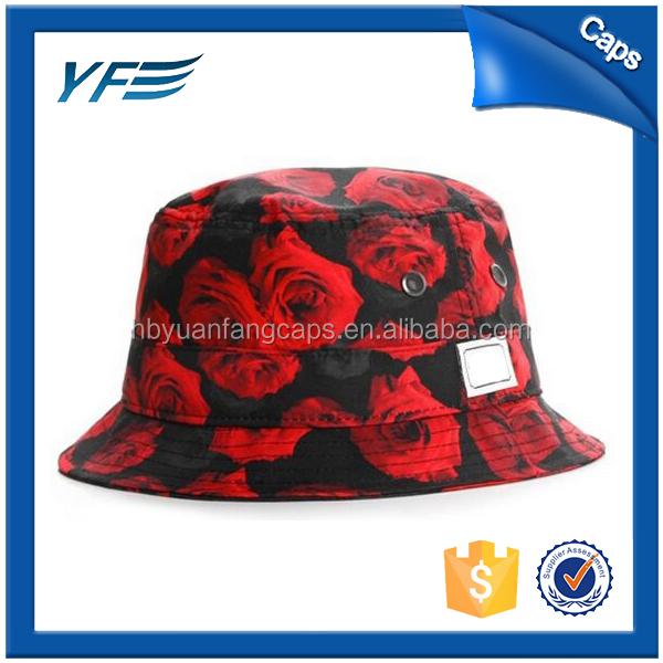 Custom Cotton Floral Plain Printed Bucket Hat Wholesale/Bucket Hat with String