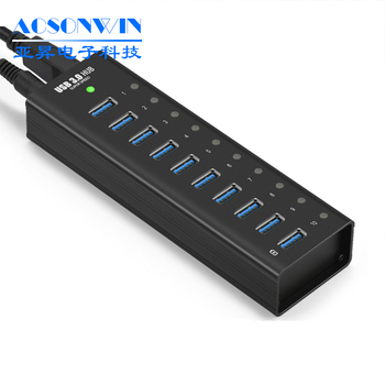 promotion super speed computer usb 3.0 data hub 10 port with power adapter