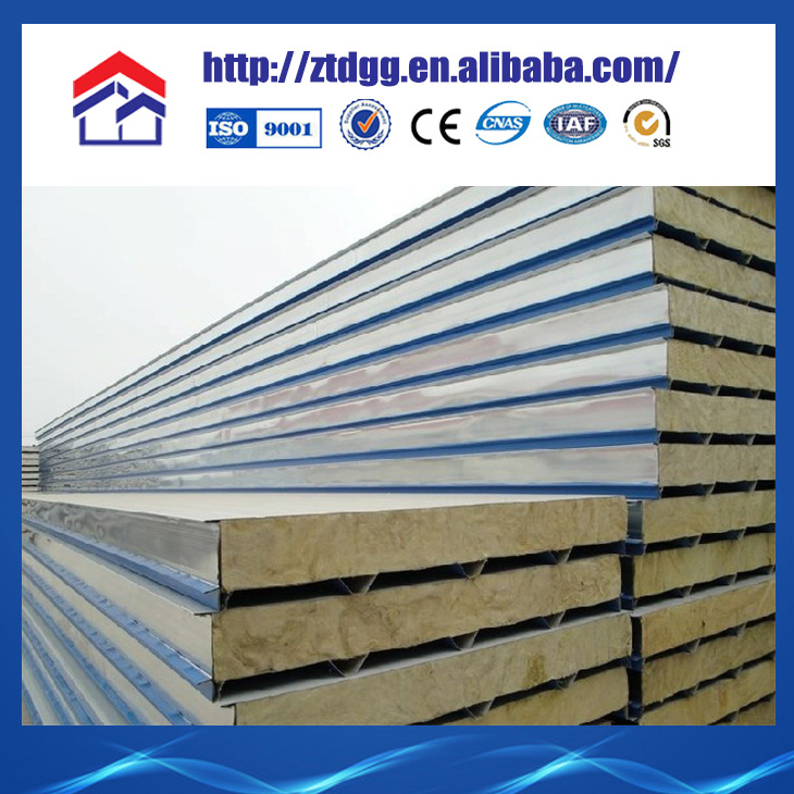 China Rigid Polyurethane Foam Sandwich Panel Insulated With rock wool or rock woolR or PIR