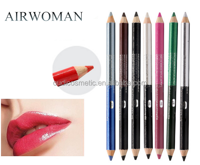 Wholesale double sided color waterproof wooden lipliner pencil &soft eye liner pencil / eyeshadow makeup pencil private label