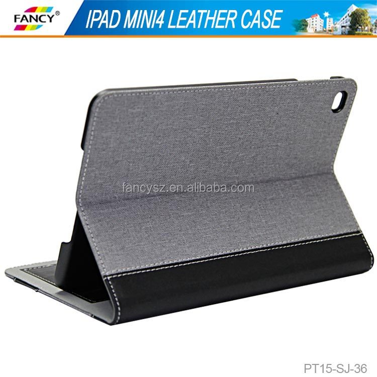2015 new design stand function card holder PU tablet case for IPad mini4